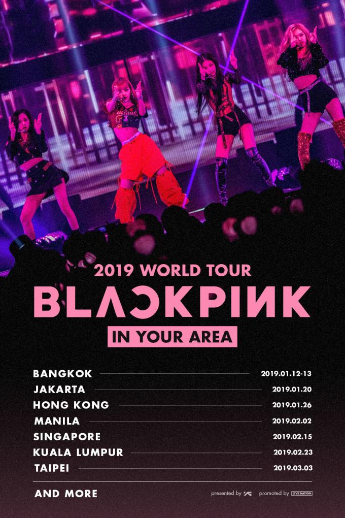 블랙핑크는 내년 1월12일부터 13일까지 방콕, 20일 자카르타, 26일 홍콩, 2월2일 마닐라, 15일 싱가포르, 23일 쿠알라룸푸르, 3월3일 타이베이 등 7개 도시 8회 공연을 진행한다.  이중 멤버 리사의 고향인 방콕에서는 총 2회 공연을 펼칠 예정이다. 더불어 블랙핑크는 K팝 걸그룹 최초로 라이브 밴드와 함께 월드 투어를 진행한다.  앞서 블랙핑크는 오는 10, 11일 양일간 서울 KSPO DOME(올림픽체조경기장)에서 데뷔 이래 첫 서울 단독 콘서트인 'BLACKPINK 2018 TOUR-IN YOUR AREA-SEOUL X BC CARD'를 열고 국내 팬들과 먼저 만난다.