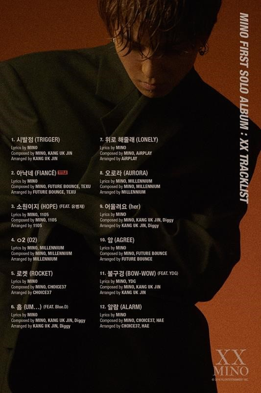 On November 20, YG Entertainment revealed the track list of MINO\\\'s first solo full-length album \\\'XX.\\\'