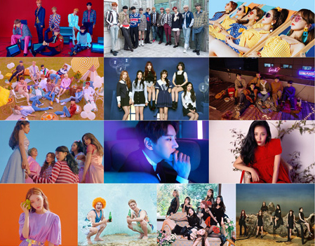 BTS, Wanna One, Red Velvet, Seventeen, GFRIEND, BTOB, Apink, Hwang Chiyeol, SUNMI, Chung Ha, Norazo, OH MY GIRL, and (G)I-DLE. T