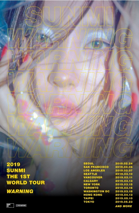 Sunmi will launch her first solo world tour \\\\\\\'2019 SUNMI THE 1ST WORLD TOUR [WARNING]\\\\\\\'.